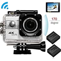 PINGKO Ultra HD 4K Waterproof Sport Action Camera,SONY Sensor WIFI 1080P 120fps HDMI 20MP+Dual 1050mAh Batteries with 2.0 Inch LCD Screen 170 Degree Wide Angle Lens Video Camcorder - Silver