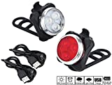 OSOPOLA Bike Headlight and Taillight Set Water Resistant USB Rechargeable LED Bike Front and Rear Combination 2 USB Cables,4 Light Modes, 350lm for MTB and Road Bike Adult and Children