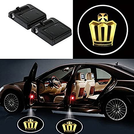 2Pcs Wireless Universal Car Projection LED Projector Door Shadow Light Welcome Light Laser Emblem Logo Lamps Kit No Drilling Required for Benz