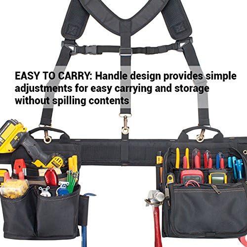 Khaki//Black 1608 CLC Polyester Tool Pouch w//Suspenders,29 Pocket,55 W
