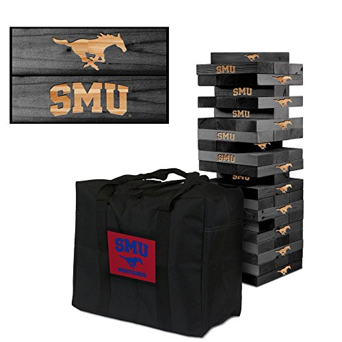 NCAA Southern Methodist Mustangs SMU 939976Southern Methodist University Mustangs SMU Onyx Stained Giant Wooden Tumble Tower Game, Multicolor, One Size by Victory Tailgate