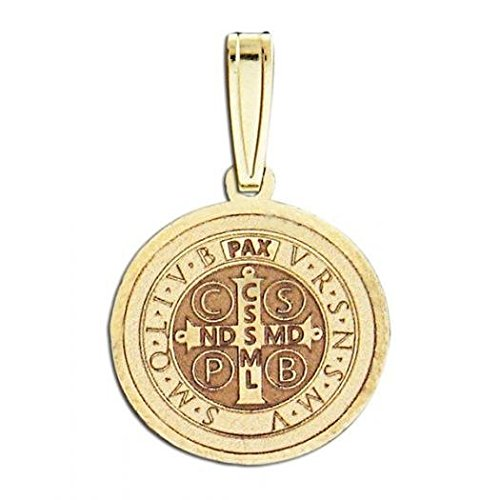 Saint Benedict Religious Medal - 1 Inch Size of a Quarter - Solid 14K Yellow Gold 14k Yellow Gold Saint Cross