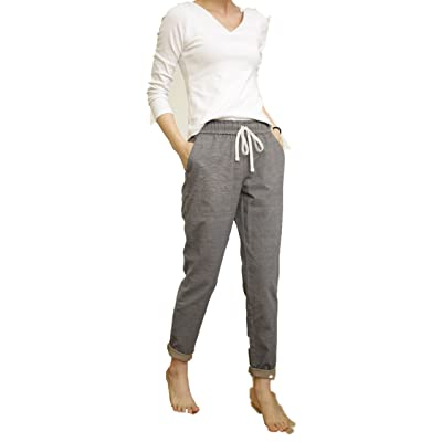 100% Cotton Women's Casual Pants with Drawstring Waist Gray Lattice (M, Grey)