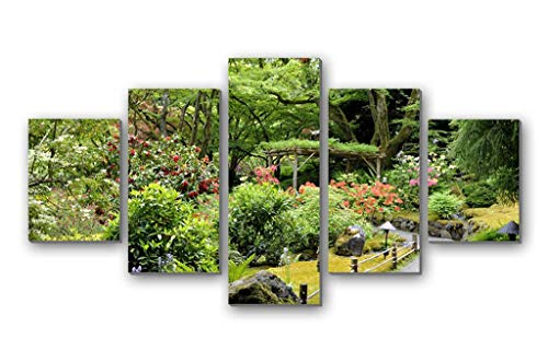 Canopy Garden Wooden (GLITZFAS PRINTS 5 Panel Wall Art Painting - Path Garden Vegetation Abundance Variety Lamps Green Trees Canopy - Canvas Stretched with Wooden Frame for Home Decor (12