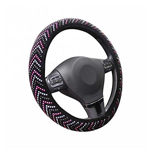 West Coast Auto Fashion Steering Wheel Cover - Pink, Silver & Black Beads, No Smell, Comfortable Grip - Universal fit 15