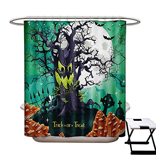 Halloween Shower Curtains Waterproof Trick or Treat Dead Forest with Spooky Tree Graves Big Kids Cartoon Art Print Fabric Bathroom Decor Set with Hooks W69 x L75 Multicolor for $<!--$36.50-->