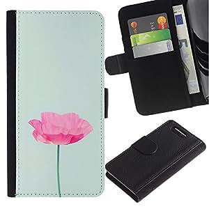 For Sony Xperia Z3 Compact Case , Flower Minimalist Pink Light Green - la tarjeta de Crédito Slots PU Funda de cuero Monedero caso cubierta de piel