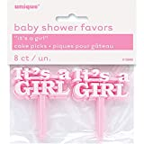 Unique Party 13660 - Plastic Pink It's a Girl Baby Shower Cupcake Toppers, Pack of 8