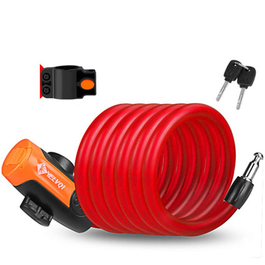 Chain Lock Cable Lock Bicycle Lock Anti-Theft Car Lock Electric Bicycle Lock Anti-Theft Lock Mountain Bike (Color : Red, Size : 1.8m)