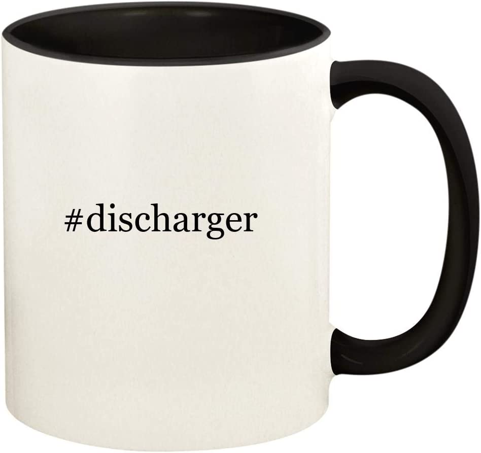 #discharger - 11oz Hashtag Ceramic Colored Handle and Inside Coffee Mug Cup, Black