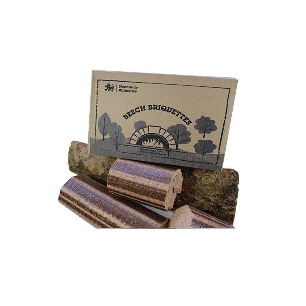 Normandy Briquettes - Bricchette di faggio, 12kg, per stufa e forno a legna per pizza, tronchi compressi a combustione molto calda e di lunga durata100% faggio naturale–combustibile ecologico.