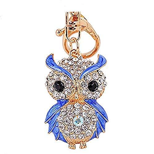 Aibearty Fashionable Creative Diamond Crystal Rhinestone Blue Owl Keychain Bag Charm Pendent