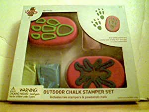 OUTDOOR CHALK STAMPER SET- 2 STAMPERS AND POWDERED CHALK-FILL WITH POWDER CHALK, AND STAMP FUN DESIGNES ON YOUR SIDEWALK ( STAMPERS,-FROG DESIGN,AND SUN FACE DESIGN) GREEN BLUE AND PURPLE POWDER Chalk-age 5 AND UP