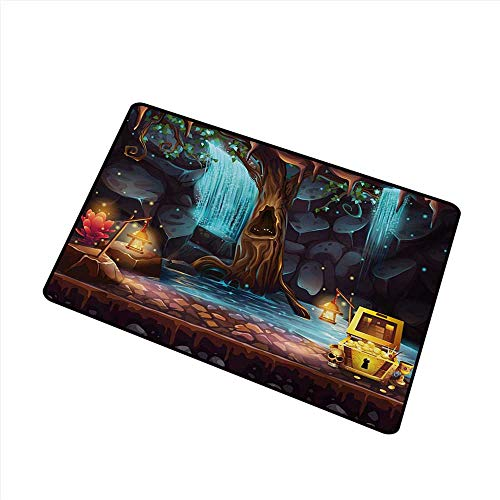 Diycon Door mat Fantasy Cartoon Style Cave Landscape with a Big Tree Treasure Chest Lamps and Waterfall W31 xL47 Quick and Easy to Clean