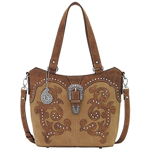 AMERICAN WEST BANDANA LEATHER SHADY COVE CONVERTIBLE TOTE LADIES HANDBAG HONEY by Bandana by American West