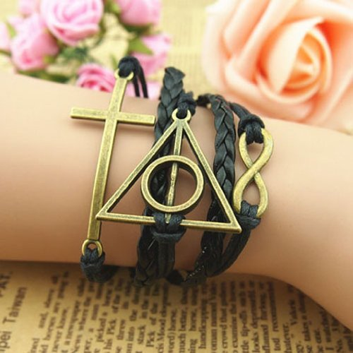 Harry Potter Deathly Hallows, Infinity, Owl, Believe Freedom Braided Leather Bracelet (Style F-FastShip)