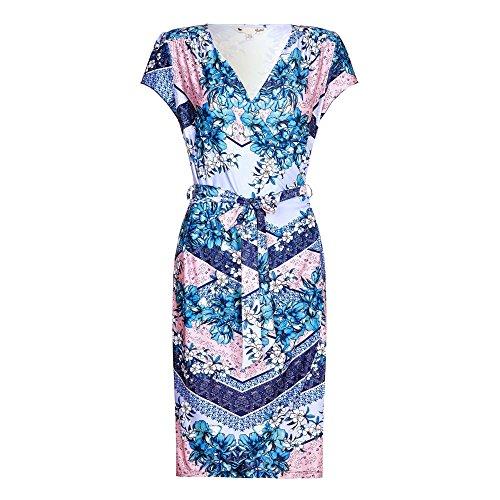 YUMI. Womens/Ladies Tile Jersey Wrap Dress (8 US) (Cobalt (Yumi Jersey Dress)