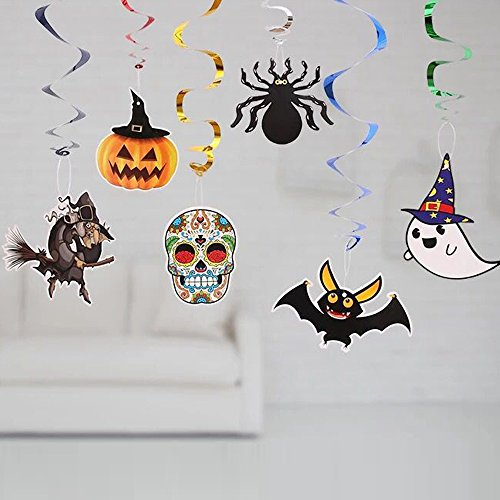 Halloween Party Witches, Ghost, Bats Swirl Ceiling Hanging Decoration Foil (12 Piece)