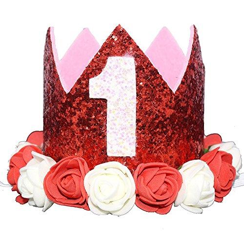 Glitter 1/2 1st 2 3 Birthday Princess Flower Crown Tiara Cake Smash Photo Prop (Red Flower 1) -