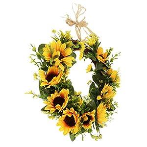 Prettyia Christmas Artificial Rattan Silk Sunflower Wreath Home Front Door Decoration 87