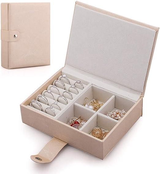 Ningz0l Caja Joyero, Cuero PU portátil, diseño a presión para Anillos Aretes Pendientes Pulseras Y Collares Viaje Cajas para Joyas para Regalo 14.8 * 11.2 * 4.2cm: Amazon.es: Hogar