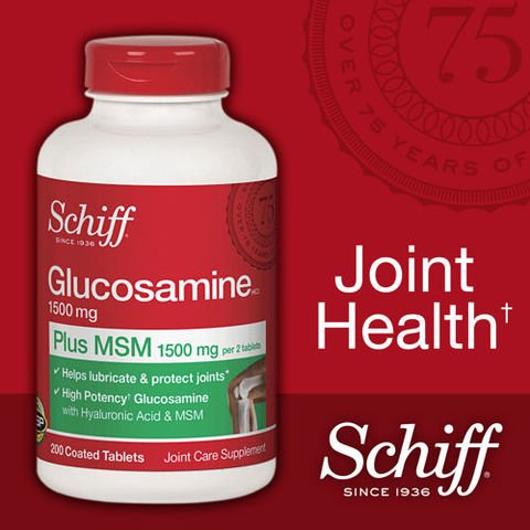Schiff Glucosamine 1500mg Plus MSM 1500mg and Hyaluronic Acid, Joint Supplement, 600 Count , Schiff-6hf4 by Schiff