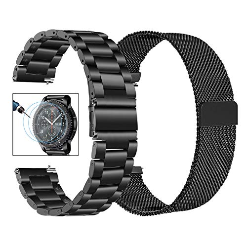 (Gear S3 Band + Screen Protector, TRUMiRR 22mm Milanese Loop Mesh Strap + Solid Stainless Steel Metal Replacement Watchband Quick Release Bracelet for Samsung Gear S3 Classic Frontier,Galaxy Watch 46mm)