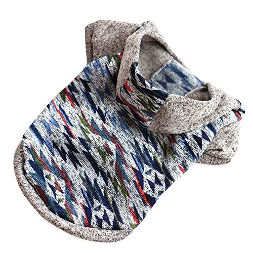 twinsmall Pet Coat, Cute Puppy Hoodie Jacket Winter Warm Sweater Dog Cat Pet Clothes for Small Dog Costume (M, Blue) -