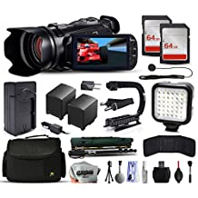 Canon XA10 Professional Camcorder Video Camera + 128GB Memory + Charger with Car/Euro Adapter + Action Stabilizer + LED Night Light + Cap Keeper + Large Case + Monopod + Dust Cleaning Kit + More