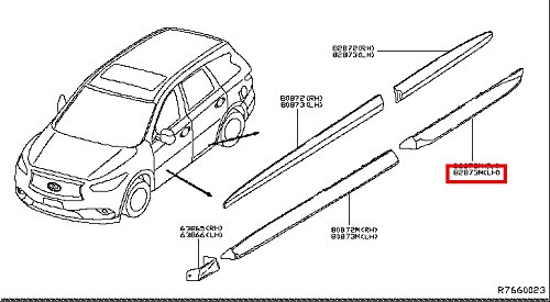 Infiniti Genuine Body Side Moulding Rear Door Left Moulding 82877-3JA0A QX60/JX QX60 HYBRID - 3 Door Moulding
