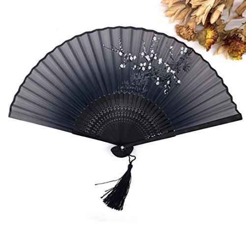 Black Silk Bamboo Folding Hand Fan Fabric Floral Outdoor Dancing Wedding Party Favor Decoration