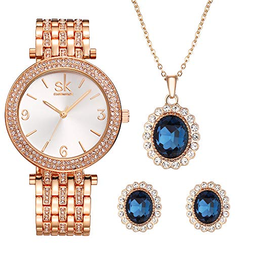 Women Watch Sets Quartz Wrist Watches with Rose Gold Earring and Necklace 3 Sets for Christmas Gifts (0011 XL003 Set) from SHENGKE SK