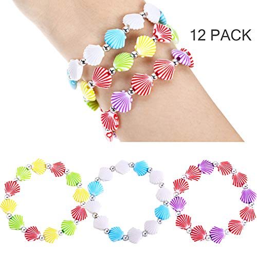 meekoo 12 Pieces Faux Seashell Stretch Bracelets Novelty and Mermaid Fashion Bracelets for Little Girls