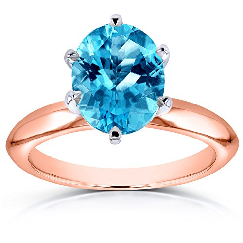 Oval Cut Swiss Blue Topaz Solitaire 6-prong Ring 2 Carats 14k Rose Gold, 8