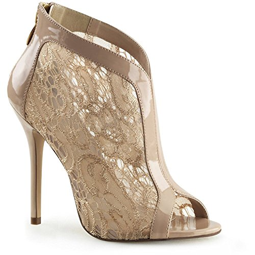 """Fabulicious 5"""" Heel, Open Toe Bootie W/Lace Overlay and Patent Trim Womens Boots, Nude Pat-Lace, Size - 9"""