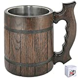 Wooden Beer Mug 20 oz for Men. Handmade Coffee Drinking Cup. Large Pirate Pint Wood Stein. Viking Ale Mead Tankard with Handle. Fathers Day, Birthday Cool Gift Box. Funny Anniversary Accessories