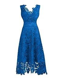KMILILY Women's Elegant V neck Sleeveless Floral Lace Blue Cocktail dress