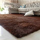 80X120cm Floor Carpets Anti Slip Bedroom Soft Mat Models Silky Carpet Mats Sofa Skin Rugs Brown 80x120cm