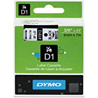Genuine DYMO 3/8 (9mm) Black on White D1 Label Tape for Electronic Dymo LabelManager 160 Label Maker