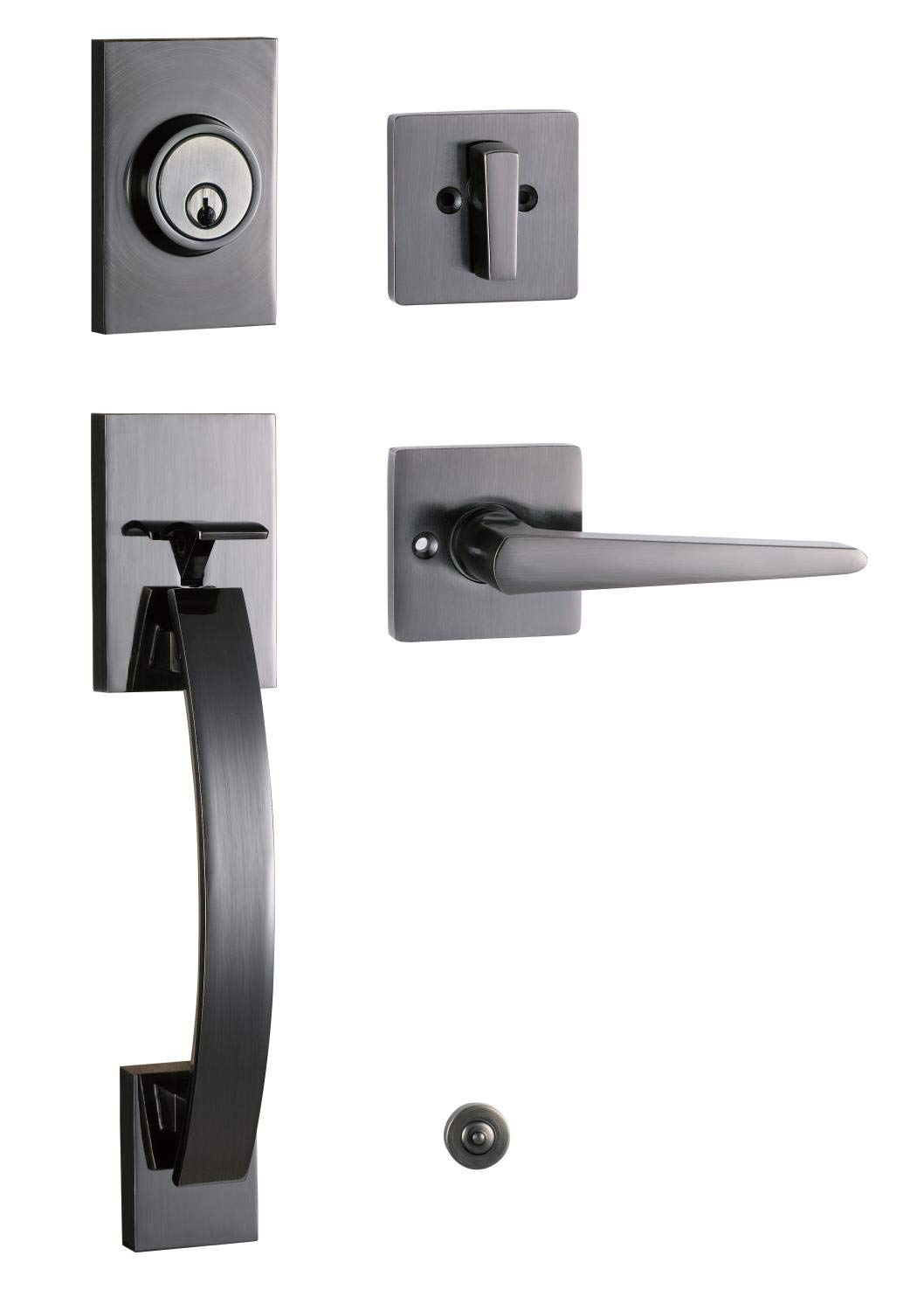 Shiny Black Dummy Handleset with Modern Lever Handle Right Handed and Left MDHST2017PW-D-AMZ