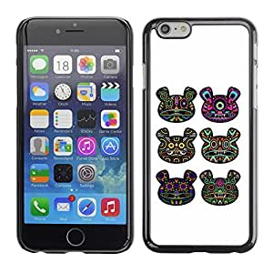 SoulCase / Apple Iphone 6 / Psychedelic Huichol Bear Totem Pattern / Slim Black Plastic Case Cover Shell Armor