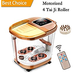 Foot Spa Massage with Motorized Tai Ji Massage - Remote Control & 4 Pro-Set Program - Time Setting, Surfing & Heating, Auto-Massage, Bubble Oxygen Ozone Sterilization