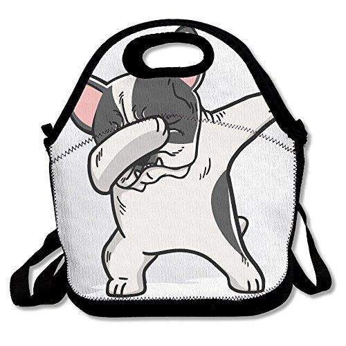 French Bulldog Pied (CUAJHa Funny Dabbing Pied French Bulldog Dog Lunch Tote Bag Bags Awesome Lunch Handbag Lunchbox Box For School Work Outdoor)