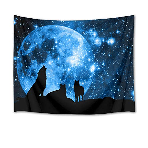 HVEST Wolf Tapestry Wolves on Mountain Wall Hanging Full Moon in Starry Sky Tapestries for Kids Bedroom Living Room Dorm Party Wall Decor,60Wx40H inches ()