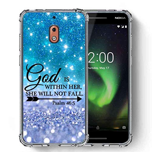 for Nokia 2.1 Case,Nokia 2V Case, SuperbBeast Ultra Slim Thin Protective Case w/Reinforced Corners Vector Floral Flowers Polka Dots [Glitter Pattern] ()