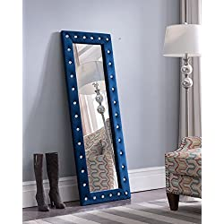 Kings Brand Furniture Modern Upholstered Tufted Standing Floor Mirror, Blue Velvet