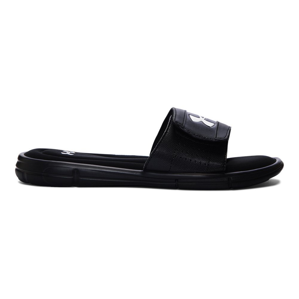 Under Armour Men's Ignite V Slide Sandal, Black (001)/White, 14 by Under Armour
