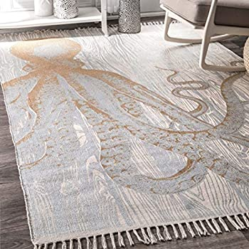 Amazon Com N Amp T 4x6 Grey Ivory Octopus Area Rug Rectangle