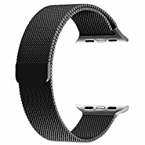 top4cus Double Electroplating 38mm Milanese Loop Stainless Steel Replacement iWatch Band with Magnetic Closure Clasp for Apple Watch 38mm - Black