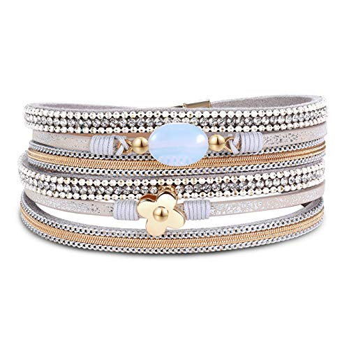 (AZORA Leather Wrap Bracelets for Women Lucky Charm 4-Leaf Clover Lucky Cuff Bracelet with Magnetic Buckle Gorgeous Bohemian Bangle Jewelry for Women Teen Girls Sister Mum)